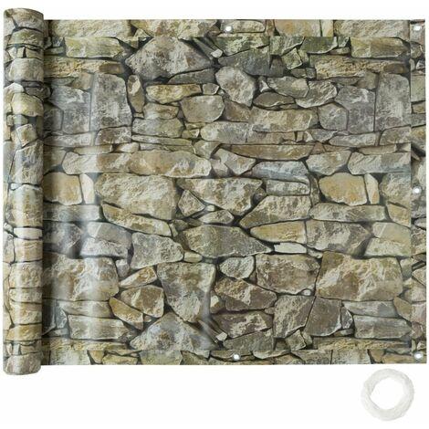 Brise vue brise vent film anti regards clôture paravent PVC pour balcon imprimé pierre 75 cm gris - Gris