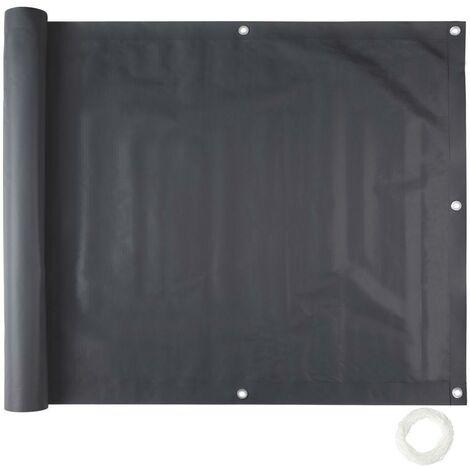 Brise vue brise vent film anti regards clôture paravent PVC pour balcon noir 75 cm - Noir