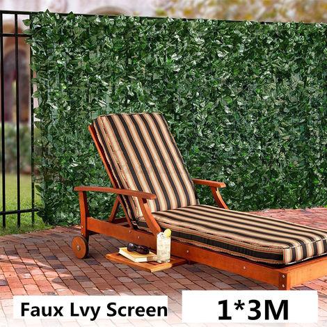 Brise Vue Clôture Feuille Verte Artificielle Couverture de Panneaux de Décoration Extérieure 100X300CM