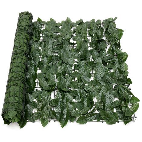Brise Vue Clôture Feuille Verte Artificielle Couverture de Panneaux de Décoration Extérieure 100X300CM Typy B 3,3 & amp; # 39; x10 & amp; # 39;