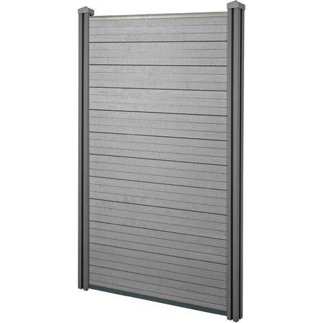Brise-vue en WPC Sarthe, clôture brise-vent, poteaux en WPC ~ élément de base étroit, 100cm gris