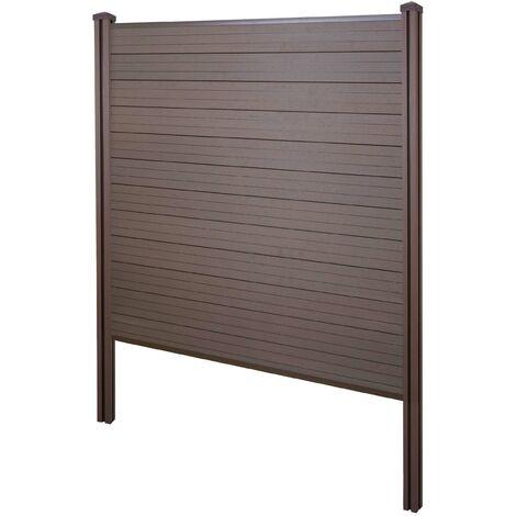 """main image of """"Brise-vue en WPC Sarthe, clôture brise-vent, poteaux WPC à sceller dans le béton ~ base, 195cm marron"""""""