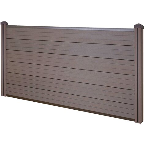 Brise-vue en WPC Sarthe, clôture brise-vent, poteaux WPC ~ élément de base bas, 1.95m brun