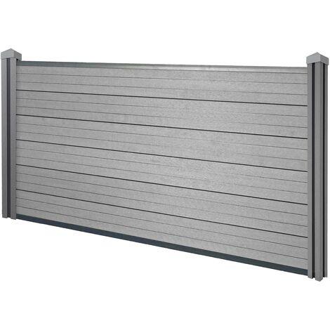 Brise-vue en WPC Sarthe, clôture brise-vent, poteaux WPC ~ élément de base bas, 1.95m gris