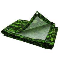 Brise vue imprimé feuillage vert avec oeillets Vert 100 cm