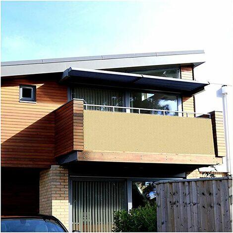 Brise-Vue pour Balcon Couverture de confidentialité Écran Jardin HDPE Opaque Vent Protection UV avec Oeillets, Attaches de câble et Cordons