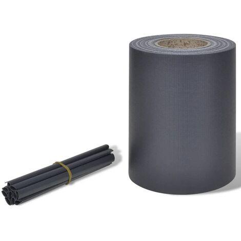 Brise-vue pour clôture en PVC gris foncé en rouleau 70 x 0,19 m