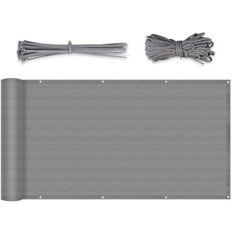 Brise-Vue renforcé HDPE 220 g/m², Attaches de câble et Cordons, Gris 1.2 x 6 m