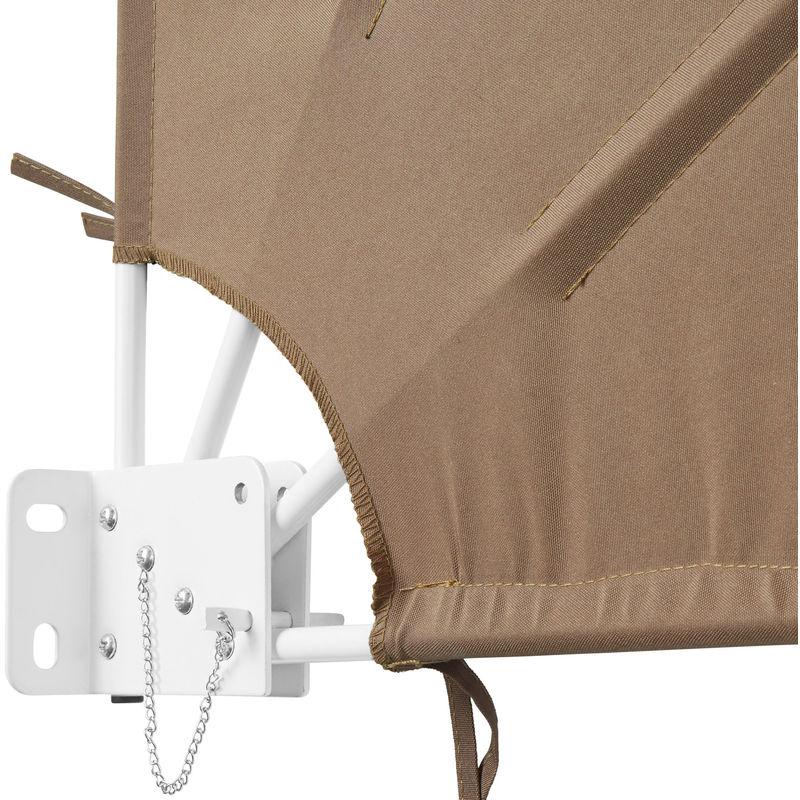 Brise Vue Rétractable Balcon Paravent Extérieur En Polyester 140 Cm X 7 5 Cm X 140 Cm Beige