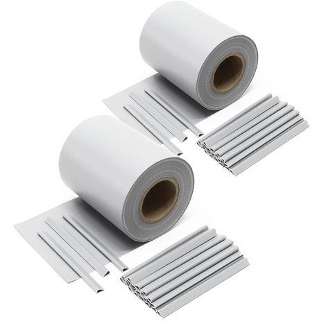 Brise-vue Rouleau gris, 70mx19cm PVC 650g/m², avec 20 clips ...