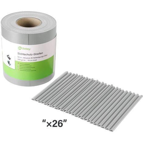 Brise-vue Rouleau, PVC 450g/m²,avec 26 clips gris, 50 m x 19cm