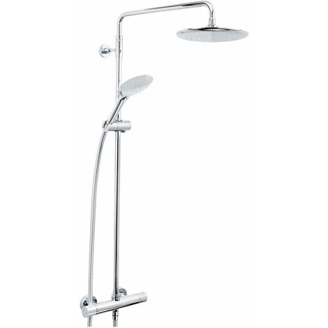 Bristan Carre Thermostatic Mixer Shower Round Exposed Fixed Twin Heads Chrome