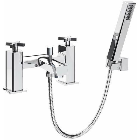 Bristan Casino Bath Shower Mixer with Kit, Pillar Mounted, Chrome