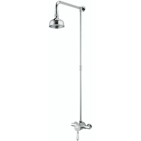 Bristan Colonial Exposed Thermostatic Shower Valve Fixed Head Chrome Rigid Riser
