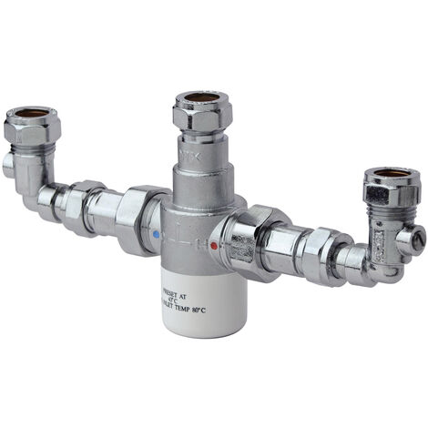 Bristan Commercial MT503 Thermostatic Mixing Valve with Isolation Elbows, 15mm, Chrome