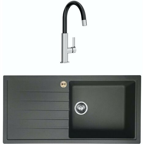 Bristan Gallery quartz left handed midnight grey easyfit 1.0 bowl kitchen sink with Melba black tap