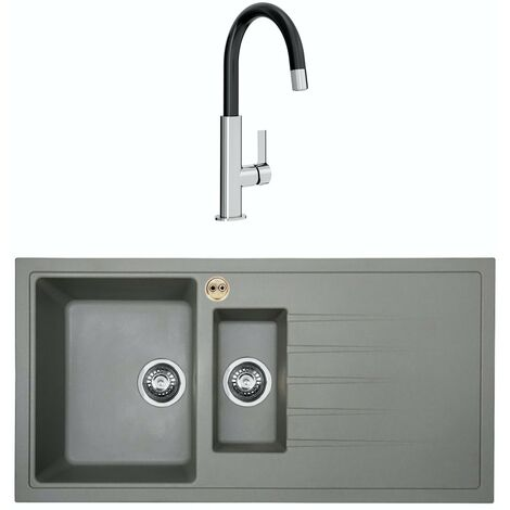 Bristan Gallery quartz right handed dawn grey easyfit 1.5 bowl kitchen sink with Melba black tap