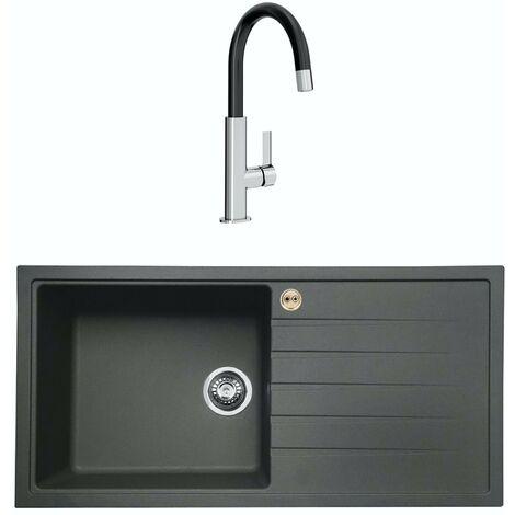 Bristan Gallery quartz right handed midnight grey easyfit 1.0 bowl kitchen sink with Melba black tap