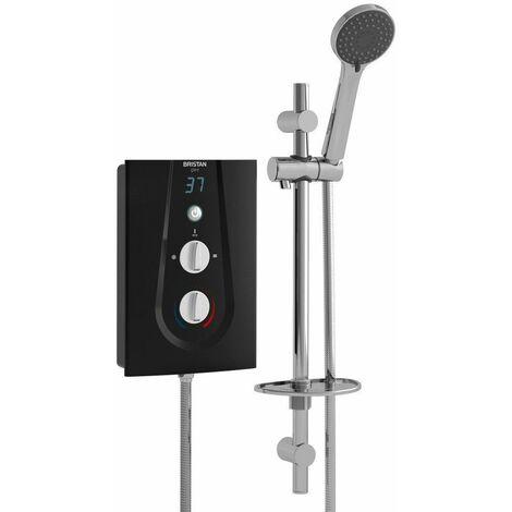 Bristan Glee Electric Shower 10.5kW Black Chrome Modern Thermostatic Round Head