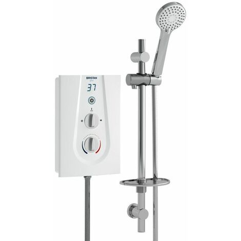 Bristan Glee Electric Shower 9.5kW White Modern Chrome Round Head Wall Mounted