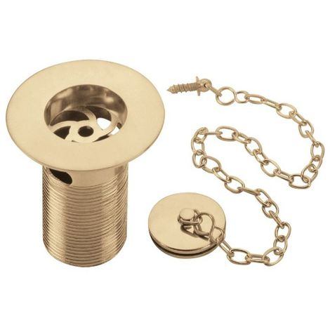 Bristan Gold Slotted Belfast Sink Waste with Solid Brass Plug and Chain - W-SNK5-G