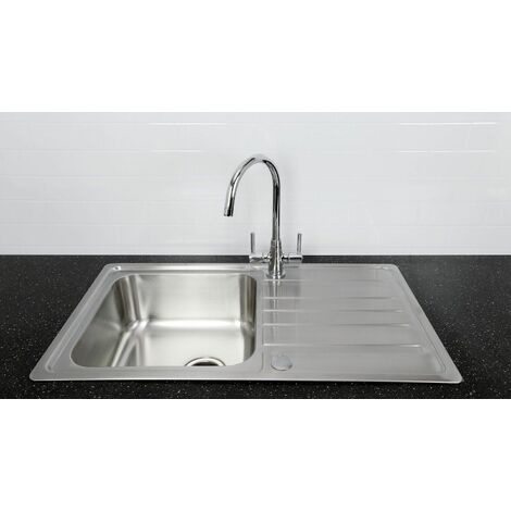 Bristan Index Kitchen Sink 1 Bowl Reversible Drainer + Monza Tap in Chrome