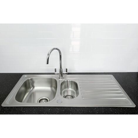 Bristan Inox Kitchen Sink 1.5 Bowl Reversible Drainer + Echo Mixer Tap in Chrome