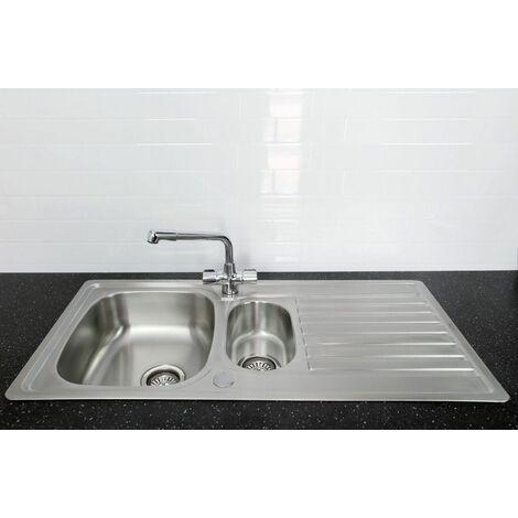 Bristan Inox Kitchen Sink 1.5 Bowl Reversible Drainer + Manhattan Tap in Chrome