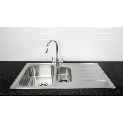 Bristan Inox Kitchen Sink 1.5 Bowl Reversible Drainer Monza Mixer Tap Chrome