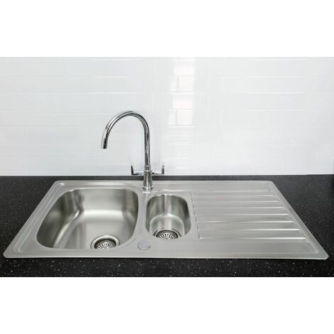 Bristan Inox Kitchen Sink 1.5 Bowl Reversible Drainer + Quest Tap in Chrome