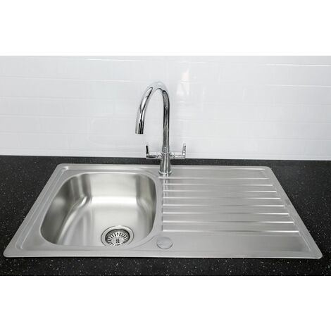 Bristan Inox Kitchen Sink Easyfit 1 Bowl Reversible Drainer + Quest Tap Chrome