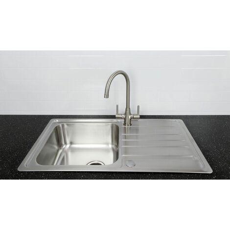 Bristan Inox Kitchen Sink Single 1.0 Bowl Reversible Monza Mixer Tap Brushed