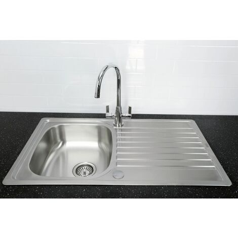 Bristan Inox Kitchen Sink Single Bowl Reversible Drainer + Echo Tap Chrome