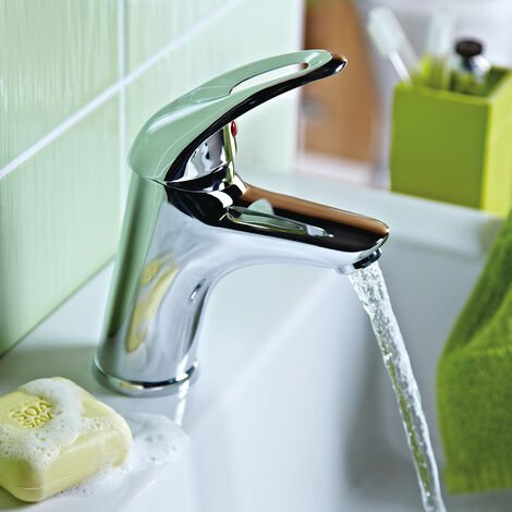 Bristan Java Basin Mixer Tap with Eco-Click & Clicker Waste - Chrome