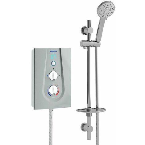 Bristan Joy Thermostatic Electric Shower 9.5kW Metallic Silver Modern Round Head