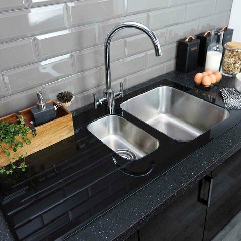 Bristan Kitchen Sink 1.5 Bowl Black Glass Surround LH Drainer + Artisan Tap