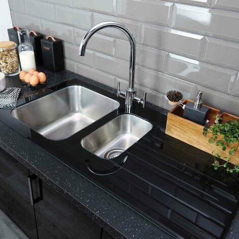 Bristan Kitchen Sink 1.5 Bowl Black Glass Surround RH Drainer+Artisan Tap Chrome