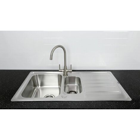 Bristan Kitchen Sink 1.5 Bowl Reversible Drainer + Monza Tap Brushed Nickel