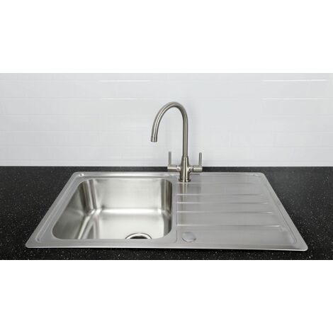 Bristan Kitchen Sink Single Bowl Reversible Drainer + Monza Tap Brushed Nickel