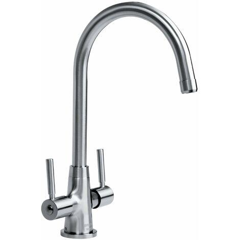 Bristan Monza Kitchen Sink Mixer Tap Double Lever Modern EasyFit Brushed Nickel