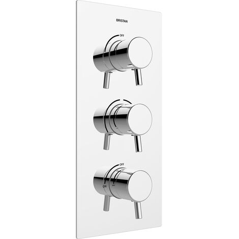 Bristan Prism Thermostatic Recessed Dual Control Shower Valve with Two Integral Stopcocks - Chrome