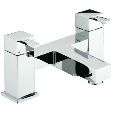 Bristan Quadrato Bathroom Modern Bath Filler Lever Tap Round Chrome Deck Mounted