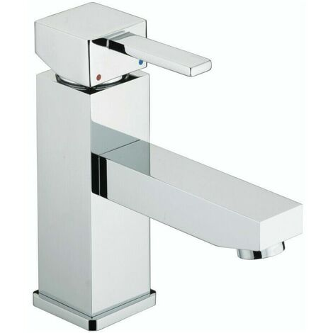Bristan Quadrato Eco Basin Monobloc Mixer Tap Modern Chrome Square Single Lever