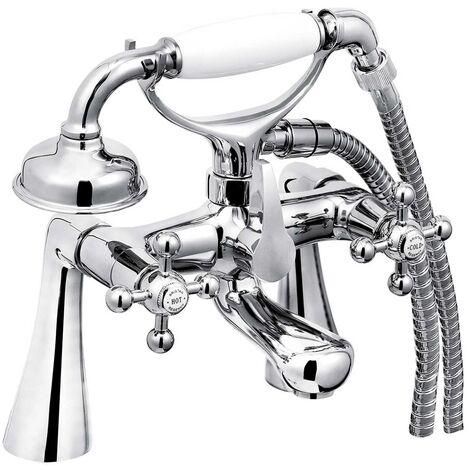 Bristan Regency Bath Shower Mixer Tap with Tall Pillars - Chrome Plated