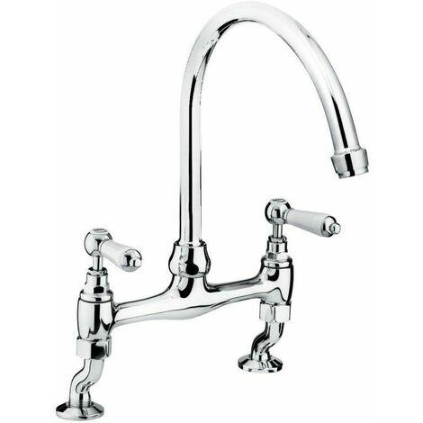 Bristan Renaissance Bridge Kitchen Sink Mixer Tap, Dual Handle, Chrome