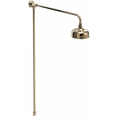 Bristan Traditional Rigid Riser Shower Kit with Fixed Shower Head - Gold