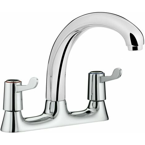 Bristan Value Kitchen Sink Mixer Tap Double Lever Deck Mounted Dual Flow Chrome