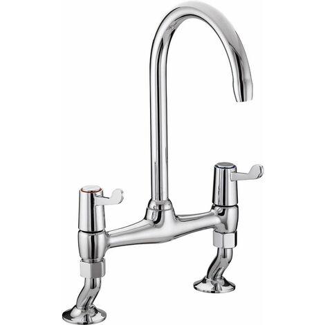 Bristan Value Lever Bridge Kitchen Sink Mixer Tap, 3 Inch Handles, Chrome