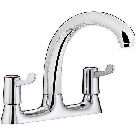Bristan Value Lever Deck Kitchen Sink Mixer Tap, 3 Inch Handles, Chrome