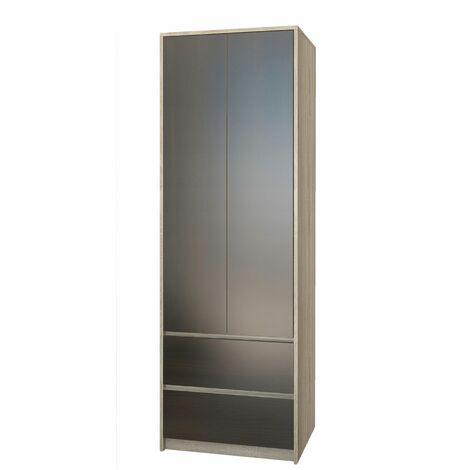 BRISTOL - Armoire chambre bureau 63x55x180 cm - Penderie multifonction - 2 portes + 2 tiroirs - Meuble de rangement - Dressing - Sonoma/Wenge